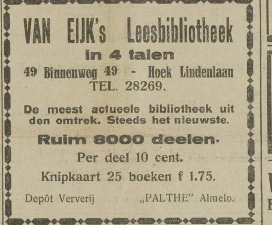 Van Eijk's Leesbibliotheek, Binnenweg 49 Heemstede. Advertentie uit 1930