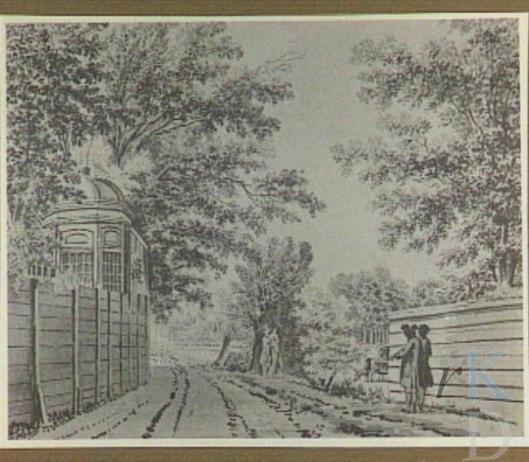 Achter Leeuw en Hooft nabij 't Blauw Bruggetje. Tekening uit 1776 van Hendrik Tavenier (RKD Den Haag)