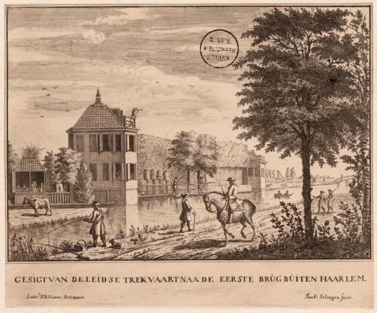 'Gesigt van de Leidse Trekvaart naa de eerste brug buiten Haarlem' (met het huis Zwanenburg) door Jan van Solingen, circa 1733, naar een tekening van Laurens Jacobsz. van der Vinne (1712-1742) (foto Universiteitsbibliotheek Leiden)