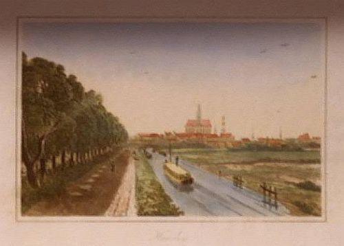John Carr. Gezicht op Haarlem vanaf de Leidse Trekvaart met trekschuit. Aquatint, 1807
