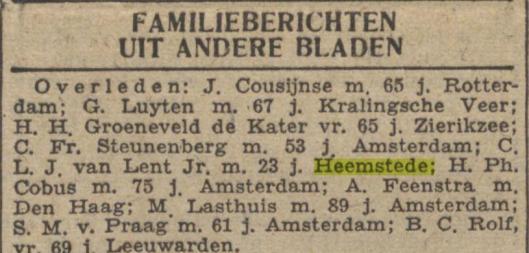 Bericht van overlijden C.L.J.van Lent (Gooi- en Eemlander, 20-6-1942)