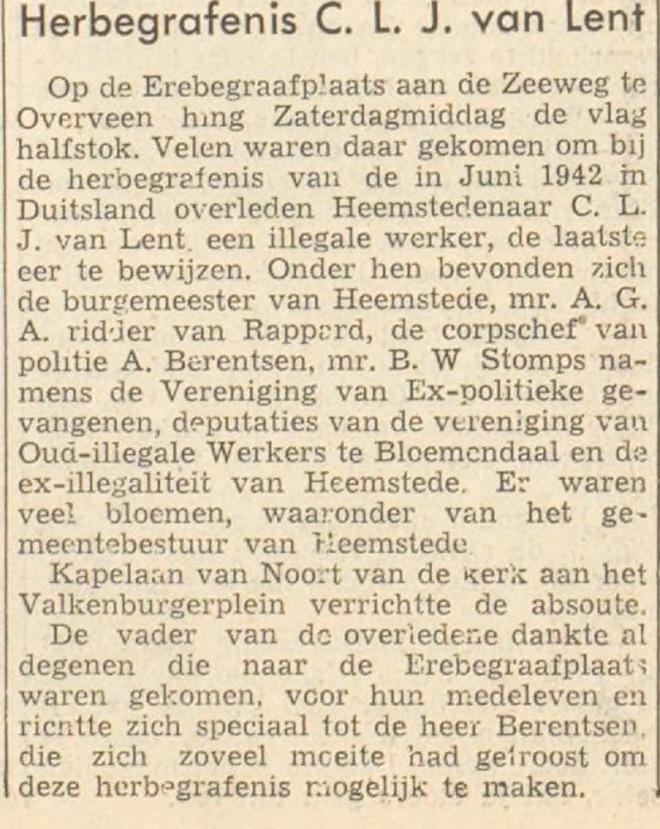 Bericht van herbegrafenis C.L.J.van Lent opErebegraafplaats Bloemendaal (Haarlem's Dagblad, 30-4-1951).