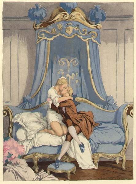 August Leroux (1871-1954) verzorgde de illustraties (aquarellen) in de Franse uitgave van Casanova's autobiografie in 1932 en heeft daarmee veel succes gehad.Op bovenstaabde illustratie is gravin A.S.verbeeld die Casanova omarmt en hem haar engel en redder noemde.