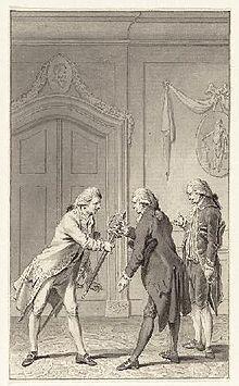 Gezant Mattheus Lestevenon (1715-1797, midden, overhangt met G.Brantsen een gouden degen aan de Franse viceadmiraal Pierre André Bailly de Suffren (1729-1788)