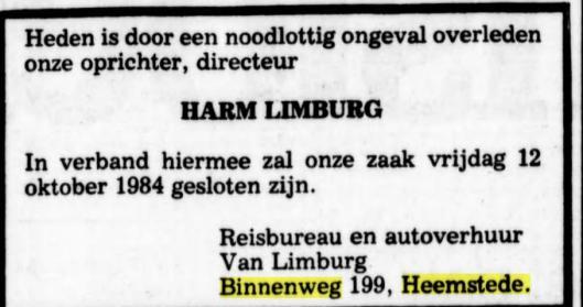 Uit: de Telegraaf, 9-10-1984