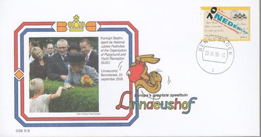 Speciale enveloppe uitgegeven bij gelegenheid van opening jubileumfestiviteiten NUSO in de Linnaeushof te Bennebroek, 23 september 2006
