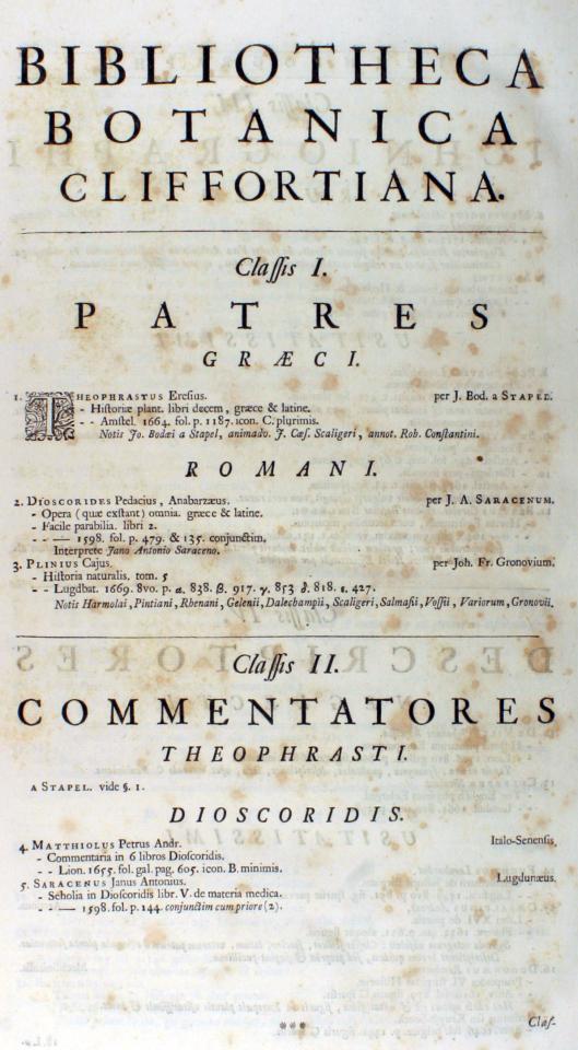 Pagina Bibliotheca Botanica Cliffortiana uit het boekwerk Hortus Cliffortianus