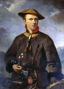 Nageschilderd portret van Linnaeus in Laplands kostuum door Hendrik Hollander (1853)