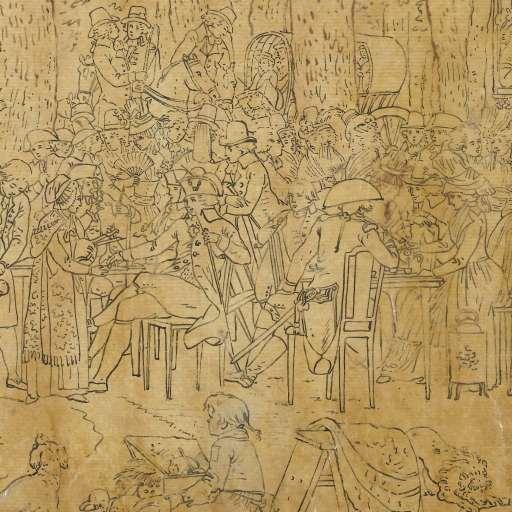 Logementen in de Haarlemmerhout. Tekening door Jacques Kuyper, 1791 (Rijksmuseum Amsterdam)