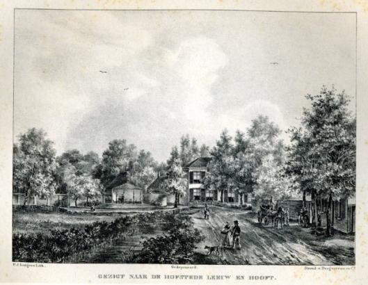 Litho van hofstede Leeuw en Hooft door P.J.Lutgers, circa 1842
