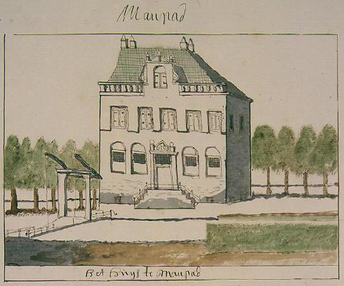 Tekeninh Huis te Manpad in Atlas Schoenmaker 1710-1735 (Koninklijke Bibliotheek)