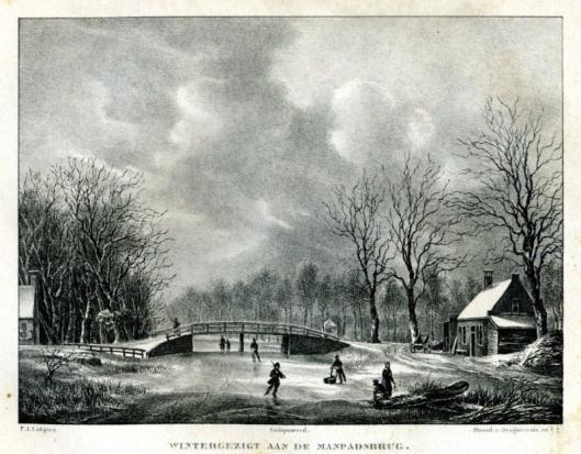 De Manpadsbrug over de Leidsevaart in wintertooi. Links het huis 'de Capel'. Litho van P.J.Lutgers uit omstreeks 1840