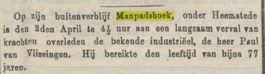 Bericht van overlijden Paul van Vlissingen op Manpadshoek, Heemstede. Uit: Java-bode, 11-5-1876