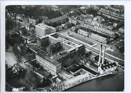 Luchtopname ziekenhuis Mariastichting vanaf Spaarne-zijde