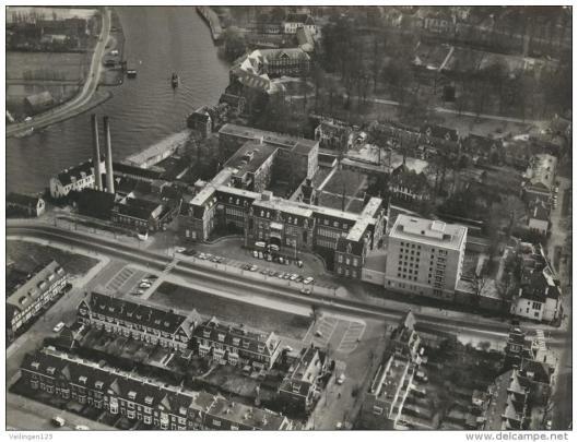 De Mariastichting vanuit de lucht gezien, omstreeks 1965