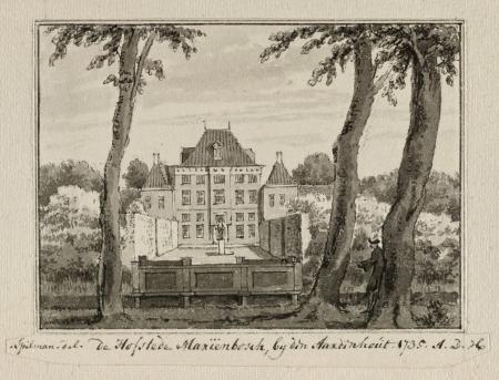 Tekening van Mariënbosch door Hendrik Spilman uit 1735 Noord-Hollands Archief)