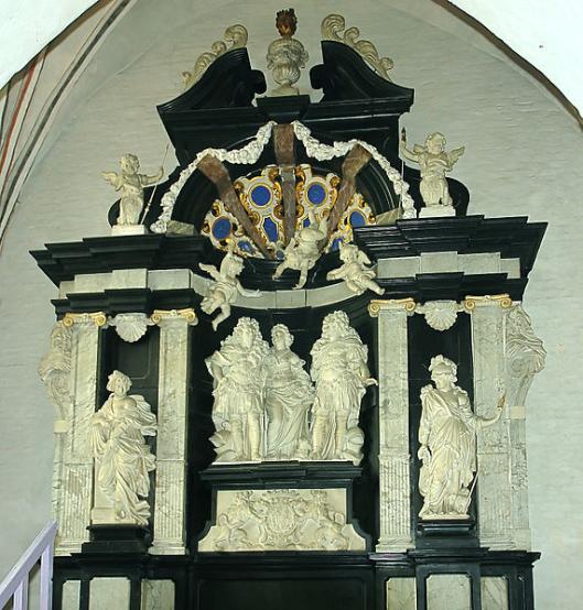 In de Domkerk van Aarhuis bevindt zich deze epitaaf van Thomas Quellinus voor het graf van Constantin Marselis (1647-1699) [Marselis-kapel] (foto Jürgen Howaldt)