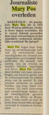 Kort bericht betreffende overlijden van Mary Pos in het Nederlands Dagblad van 5-1-1988