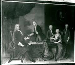 Mattheus de Neufville (1686-1743), oudste broer van Maria de Neufville - met zijn vrouw en volle nicht Petronella de Neufville (1688-1749), weduwe van Jacob van Lennep. De kinderen Van Lennep v.l.n.r. Aernout (1718-1791), Jacob Pieter (1723-1772) en David (1721-1771). Aan de wand hangt een portret van de overleden echtgenoot/vader Jacob van Lennep (1686-1725). Schilderij van Balthasar Denner uit 1738 (RKD)