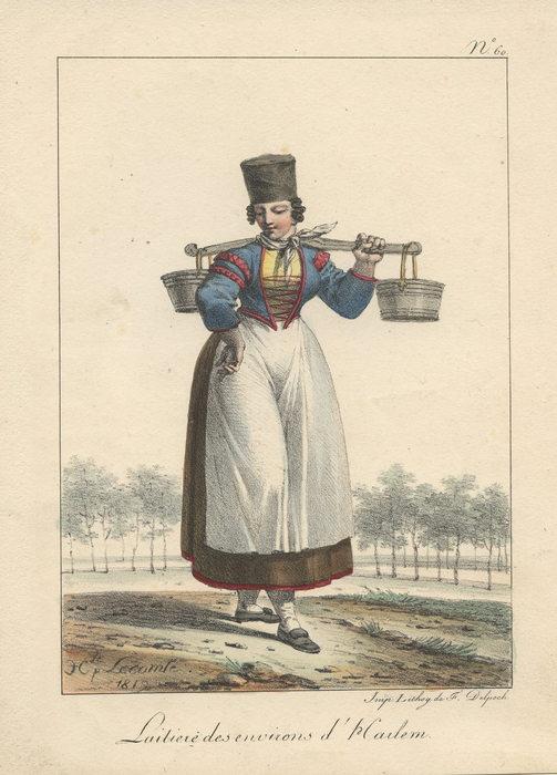 Melkmeisje uit Heemstede. Kleurenlitho van J.C.Lecomte, 1819