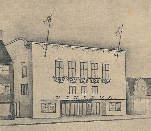 Artist's Impression van het Minervatheater door architect ir.W.Ph. van Harreveld.