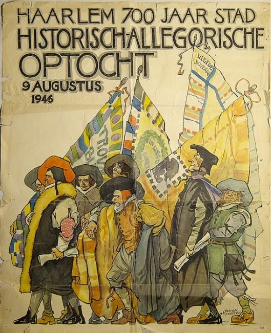 Affiche van Herman Moerkerk, vervaardigd bij gelegenheid van historisch-allegorische optocht 700 jaar stad Haarlem, 9 augustus 1946