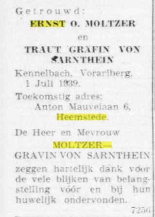 HUwelijk Ernst O.Molter en Traut gravin von Satnthein (De Telegraaf, 1-7-939)