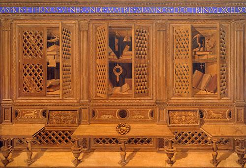 Wand van het renaissance-kabinet van Frederico da Montefeltro in New York.