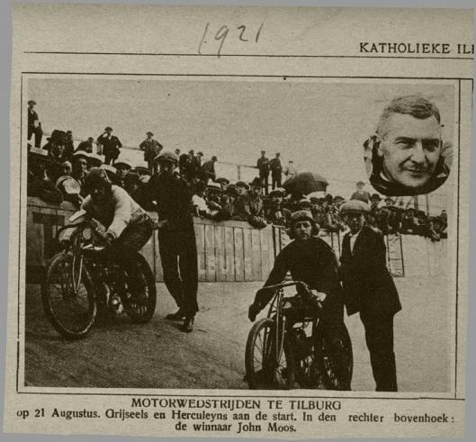 John Moos in 1921 als winnaar van een motorwedstrijd in Tilburg (Katholieke Illustratie)