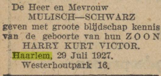 Advertentie in Algemeen Handelsblad van 29 juli 1927 betreffende geboorte van Harry Mulisch in Haarlem