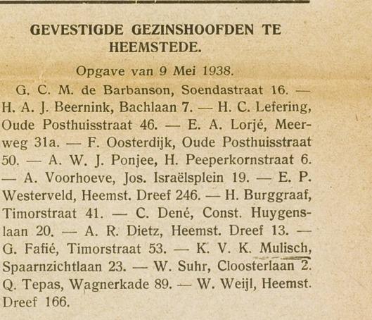 Vestiging van gezinshoofd K.V.K.Mulisch in Heemstede, Eerste Heemsteedsche Courant, 12 mei 1938