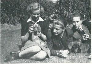 Tegenover Mulisch aan de Spaarnzichtlaan woonde de familie Ludwig. Rechts op deze foto Harry's vriendje Frans Ludwig (in 1944 gefusilleerd), in het midden Harry en links Emy. Harry's derde liefde met de hond Schloempie van de familie Mulisch.