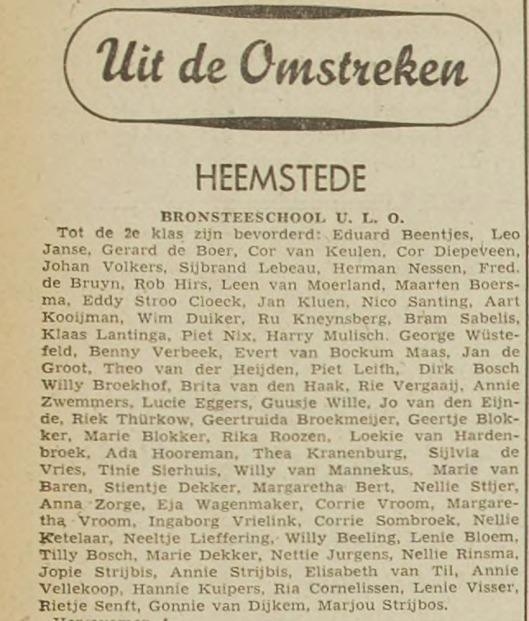 Harry Mulisch als leerling van de Bronstee ULO in Heemstede (Haarlem's Dagblad, 25 juli 1941)