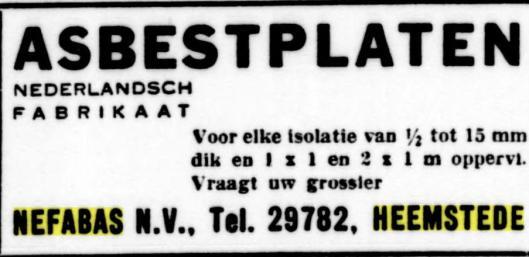 Advertentie uit 1944 van Nefabas, N.N.Nederlandse Fabriek van Asbestproductien 'Asbestos', Havenstraat 65 Heemstede