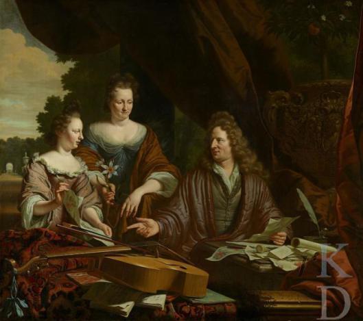 David de Neufville (1654-1729 rechts afgebeeld op een schilderij van M.van Musscher uit 1696 met links op de achtergrond de tuin van zijn nieuw verworven bezit Meer en Berg. Naast hem is zijn echtgenote [tevens volle nicht] Agneta de Neufville (1658-1719) afgebeeld en helemaal links hun dochter Catharina de Neufville (1683-1729). Het doek bevindt zich in particuliere collectie (foto Iconografisch bureau Den Haag)