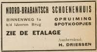 Advertentie van het Noord-Brabantsch Schoenenheuis van 1930 tot 1937 gevestigd op het adres Binnenweg 1b nabij de IJzeren brug.