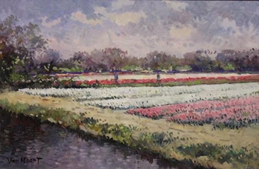 Bloembollenveld in Heemstede, de Glip, door A.C.van Noort (1914-2003)