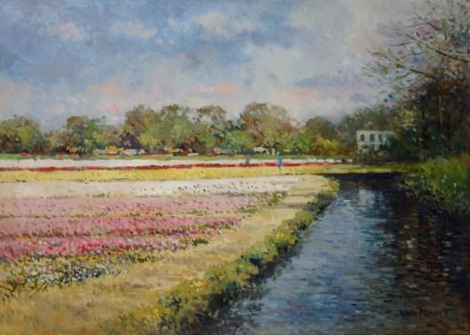 A.F.van Noort: bloembollenvelden aan de Kadijk in Heemstede, 1953