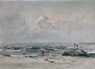 Strandgezicht door Arie van Noort