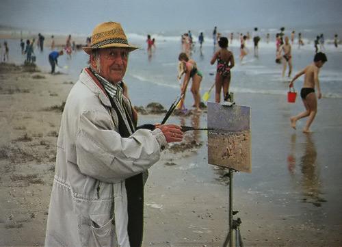 Arie Cees van Noort aan het werk in Zandvoort