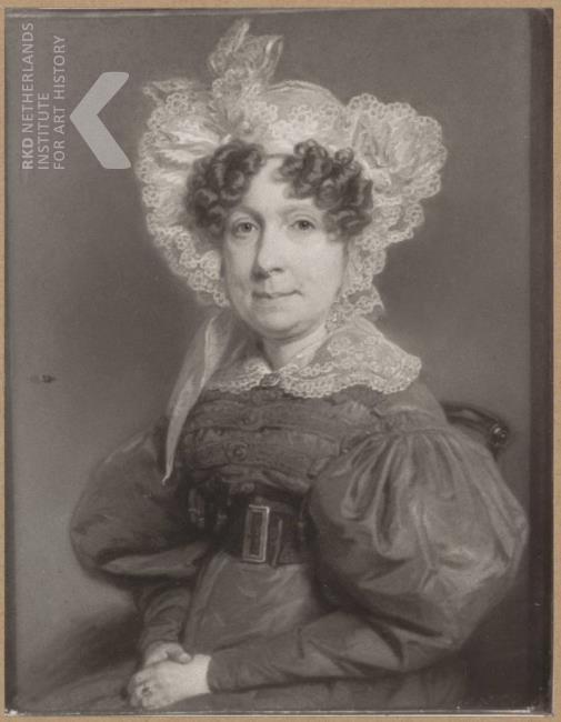 Portret van Johanna Maria Nutges (1784-1858), ambachtsvrouwe van 1816 tot 1858, gehuwd met Arnoud David Willink. Naar een schilderij van F.Tozelli. (RKD, iconografisch bureau)