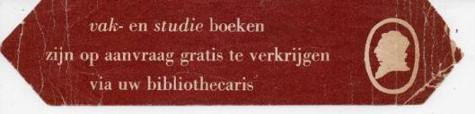 Pmmzeijde van bladwijzer nutsbibliotheek (Maatschappij tot Nut van het Algemeen)