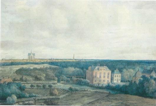 Aquarel van een gezicht op Haarlem vanuit Elswout; door Gerard van Nymegen (1735-1808)