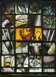 Fragmenten oude glazen in Hervormde Kerk Heemstede (Paul van Galen)