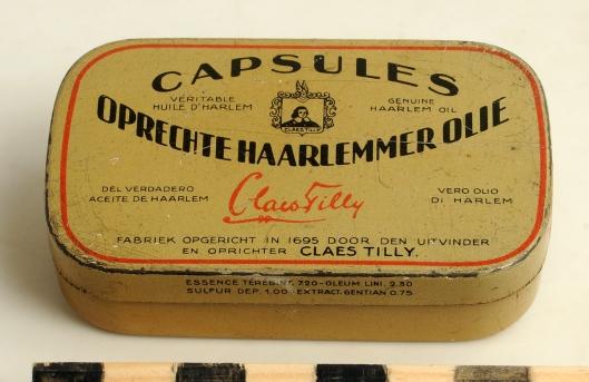 Blikje met capsules harlemmerolie