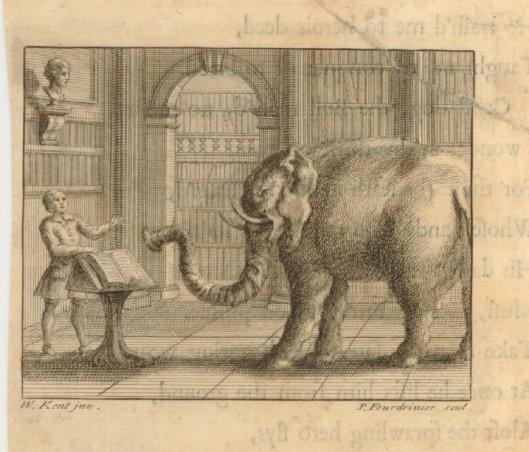 Gravure uit: J.Gay, Fables. London, J.Tonson and J.Watts, 1727. 'De olifant en de boekverkoper'. Gravure van W.Kent naar P.Fourdinier.