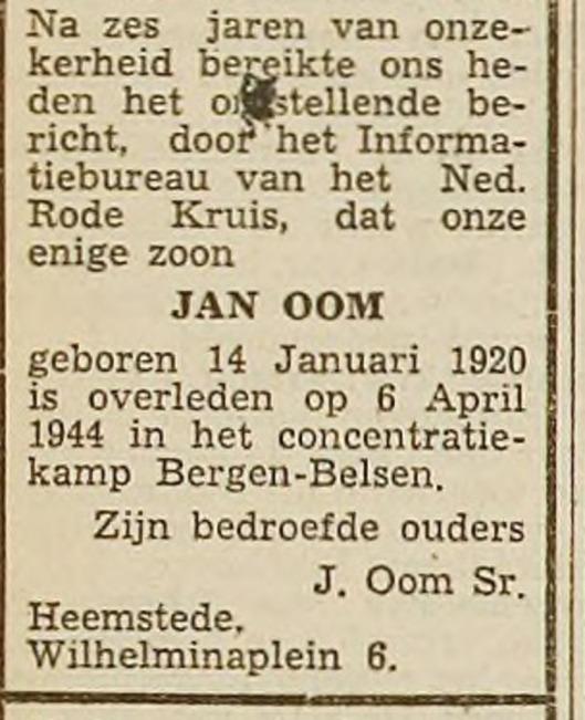 Overlijdensadvertentie Jan OOm, uit: Haarlems Dagblad van 25-11-1949.