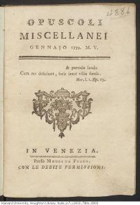Titelblad van 'Opuscoli miscellaneo', gennaio 1779, een zeldzame uitgave van Casanova