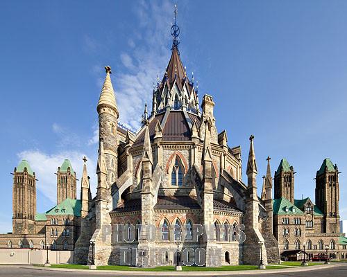 Exterieur van de Parlementsbibliotheek van Canada in Ottawa