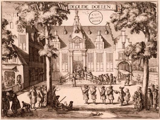 De Oude Doelen (nu Stadsbibliotheek Haarlem) door Romein de Hooghe
